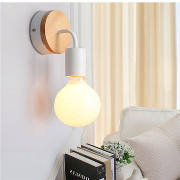 E27 Modern Wooden Wall Light Indoor Bedside Restaurant Bedroom Lamp AC85-265V