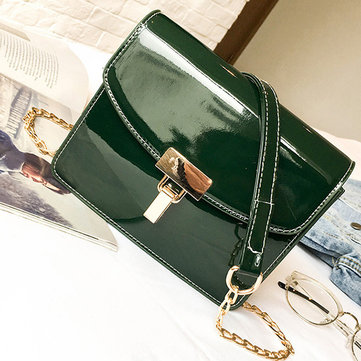Women Patent Leather Lock Chain Korean Version Crossbody Bag