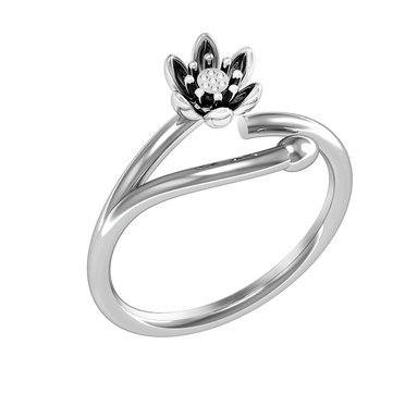 Fashion Platinum Plated Silver Ring Ethnic Lotus Flower Open