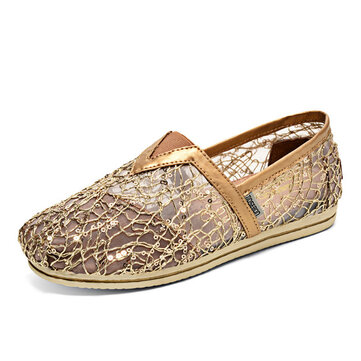 Women Casual Mesh Hollow Out Loafers Soft Sole Slip-ons Breathable Beach Shoes