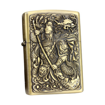 IPRee® Metal Kerosene Lighter Vintage Embossed Refillable Ignitor Starter Chinoiserie Lighter