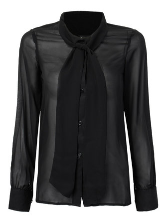 Sexy OL Black Bow Tie Puff Sleeve Chiffon Women Blouse