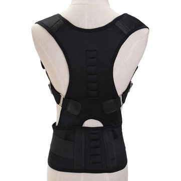 Neoprene Magnetic Adjustable Back Support Brace Posture Corrector Lumbar Shoulder Belt