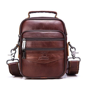 FUZHINIAO Men Genuine Leather Shoulder Bags Vintage Style Designers Crossbody Bag