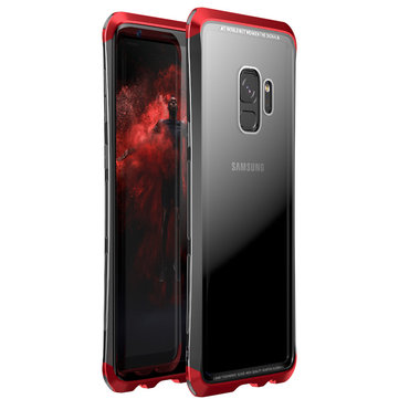 Luphie Metal Bumper+9H Clear Tempered Glass Back Shell Protective Case For Samsung Galaxy S9