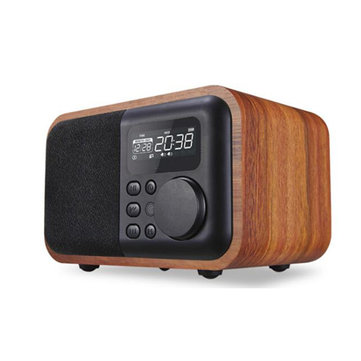 Wooden Portable Alarm Clock FM Radio TF Card Aux-in Remote Control Bluetooth Speaker with Mic