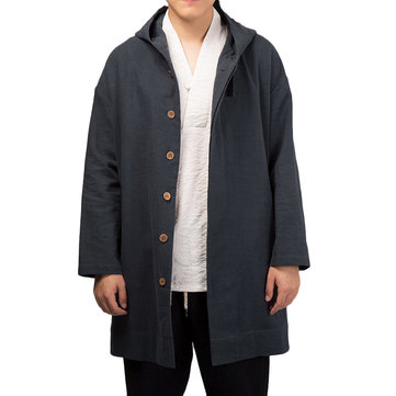TWO-SIDED Mens Hooded Mid-long Drawstring Trench Coat