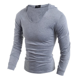 Fashion style hooded t-shirt hommes occasionnels solide manches longues étiré tops tee-shirts