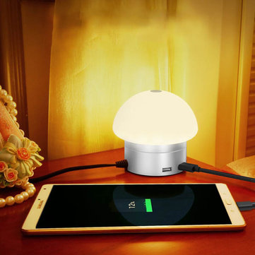 30W Touch Dimmable Smart Mushroom Light with 6 USB Charger Port Bedside Ambience Lamp
