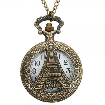 DEFFRUN Vintage Hollow Eiffel Tower Pattern Bronze Quartz Pocket Watch