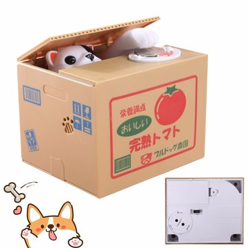 Creative Cute Steal Coin Dog Style Piggy Bank Money Saving Box Kid Xmas Gifts