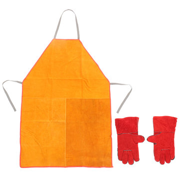 Heavy Duty Welders Welding Apron & Gauntlets Welding Gloves Red Leather Safety