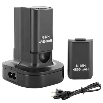 Dual Charger Base Charging Station Dock with 2 Rechargeable Battery 4800mAh Xbox 360 Controller