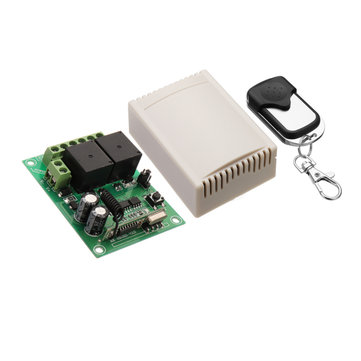 433MHz 12V 2CH 2 Channel Wireless Remote Control Switch + 2 Button Transmitter Learning Code Jog Self-locking Interlock