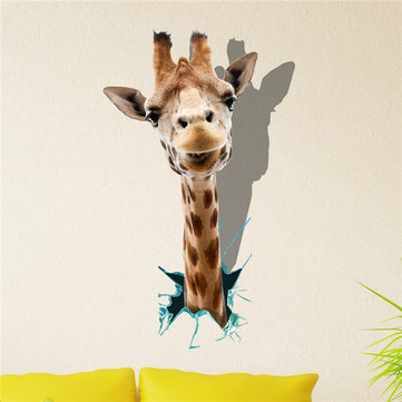 Giraffe 3D Wall Decals Animal PAG STICKER Removable Wall Hole Stickers Home Decor Gift