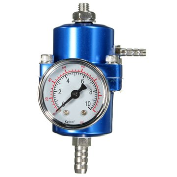 0-140 PSI Blue Fuel Pressure Regulator Adjustable Pressure Gauge