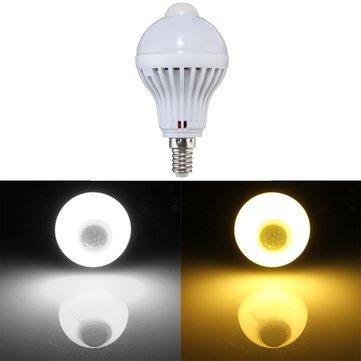 E14 5W 18 SMD 2835 LED Motion Control PIR Sensor Light Lamp Bulb AC 220V