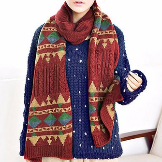 Women Men Couple Artificial Wool Scarf Crochet Knitted Long Scarves Geometric Pattern Wrap Shawls