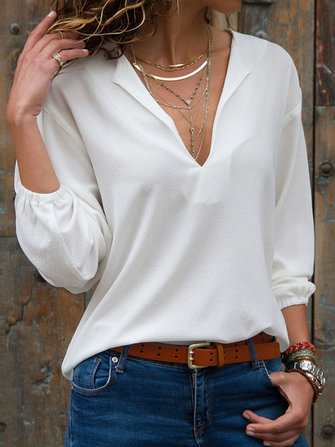 Women Solid Color Loose Lantern Sleeve Blouse