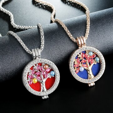 Trendy Rhinestone Fragrance Necklace Life Tree Essential Oil Necklace For Women