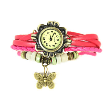 Fashion Vintage Girls Butterfly Handmade Bracelet Quartz Watch