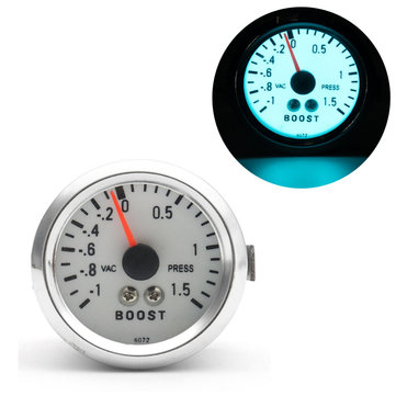Voiture 2 '' 52mm LED mécanique Turbo Boost Gauge Pointer Meter Press Chrome + Tuyau
