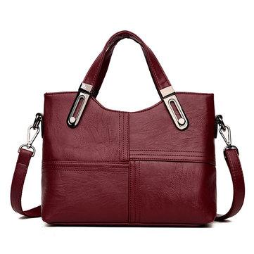 Women Stitching Handbag Soft Leather Leisure Solid Large Capacity Crossbody Bag