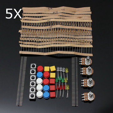 5Pcs Electronic Parts Component Resistors Switch Button Kit For Arduino
