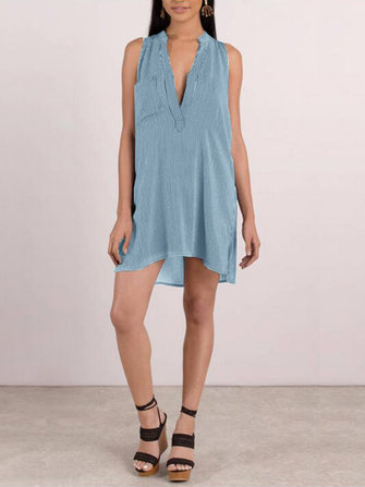 Casual Women Loose Ärmlös V-Neck Dress med fickan