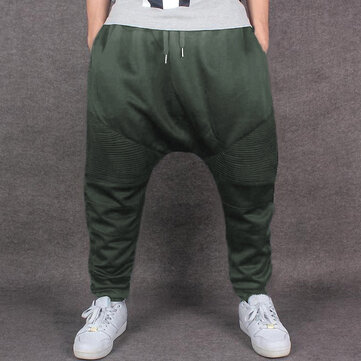 INCERUN Men's Hip Hop Dance Loose Pants Elastic Waist Solid Baggy Dropped Crotch Trousers