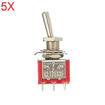 5pcs Red Toggle Switch DPDT On-Off-On 6 PINs 3 Position 5A 120Vac /2A 250Vac