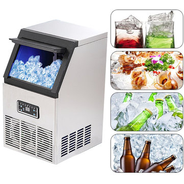 220V 40kg Auto Commercial Ice Maker Cube Machine Ice Machine Icemaker Ice Making Tools Equipment Stainless Steel
