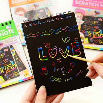 10PCS Fun DIY Doodling Scratch Painting Book Kids Children Educational Toy