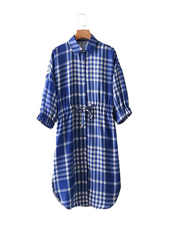 Casual Women Plaid Drawstring Waist Shirt Dress