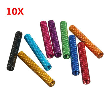 Suleve™ M3AS8 10Pcs M3x35mm Knurled Standoff Bolt Nut Aluminum Alloy 6061 Multicolours