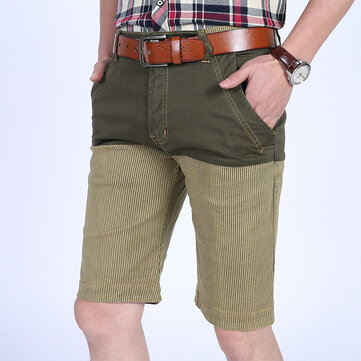 Mens Bomull Splicing Färg Blockering Tunna Loose Essential Casual Knä-längd Shorts