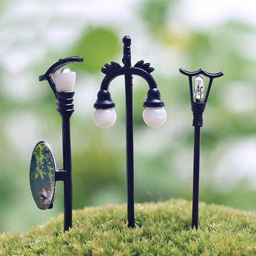 strada mini lampada fai da te muschio micro paesaggio decorazione del giardino di fiori del paesaggio