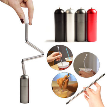 LAOTIE Stainless Steel Drinking Straw Outdoor Camping Picnic Foldable Portable Reusable Water Tube With Keychain Hole