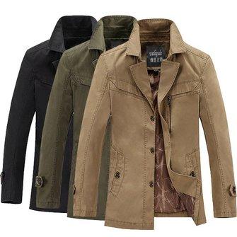 Mens Fashion Cotton British Style Coat Casual Turn-down Collar Jacket