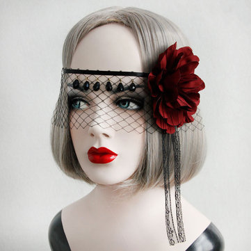 Sexy Mask Crystal Black Lace Gauze Red Flower Ribbon Masks Halloween For Women