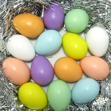 20PCS Simulation Bright Plastic Easter Eggs DIY Party Decor Assortment Toy Gifts