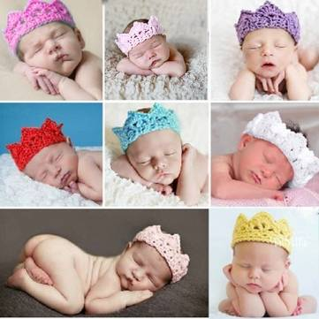 Buy Newborn Baby Winter Girl Boy Crochet Knit Crown Photography Accessories Hair Head Handmade Beanie Prop Hat Cap for $1.88 in Banggood store