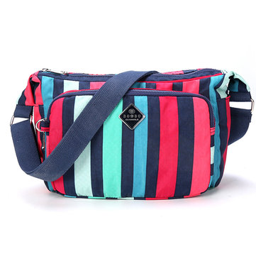 Women Nylon Print Multi-pockets Crossbody Bags