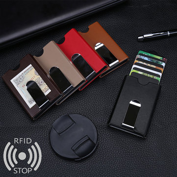 Men Women RFID Antimagnetic Automatic Pop up Aluminum Wallet Credit Card Holder