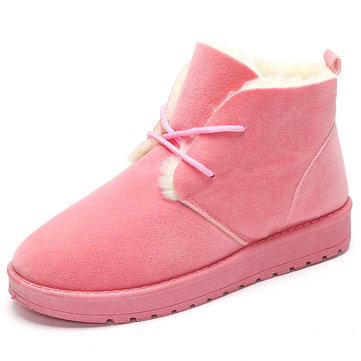 Чистый цвет зашнуровать шерсть шерсть подкладка короткие ботинки снега