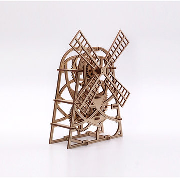 Wood Trick Windmill Mechanical Model 3D Wooden Puzzles DIY Toy Assembly Gears Constructor Kits Gifts