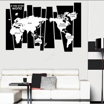 75*105 CM Black Travel World Map Poster Sticker