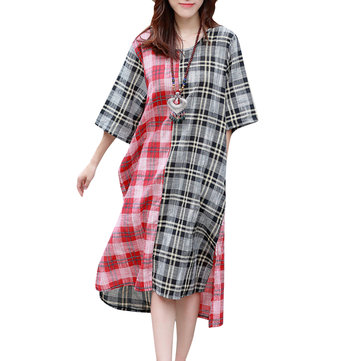 Loose Women Mori Girl Plaid Contrast Color Patchwork Split Dress