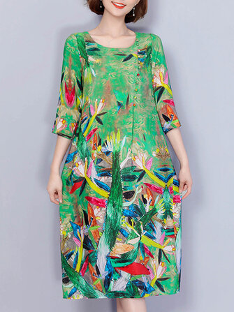 Women Elegant Art Print 3/4 Sleeve Loose Dress