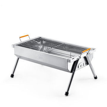 YUTOO Stainless Steel Outdoor Portable Charcoal Barbecue Grill Cooking Picnic Camping Wood BBQ Grill